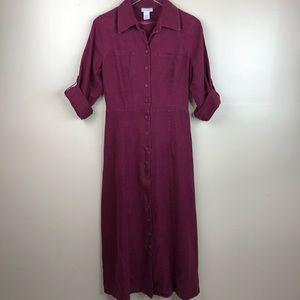 Soft Surroundings Maxi Shirt Linen Dress Medium